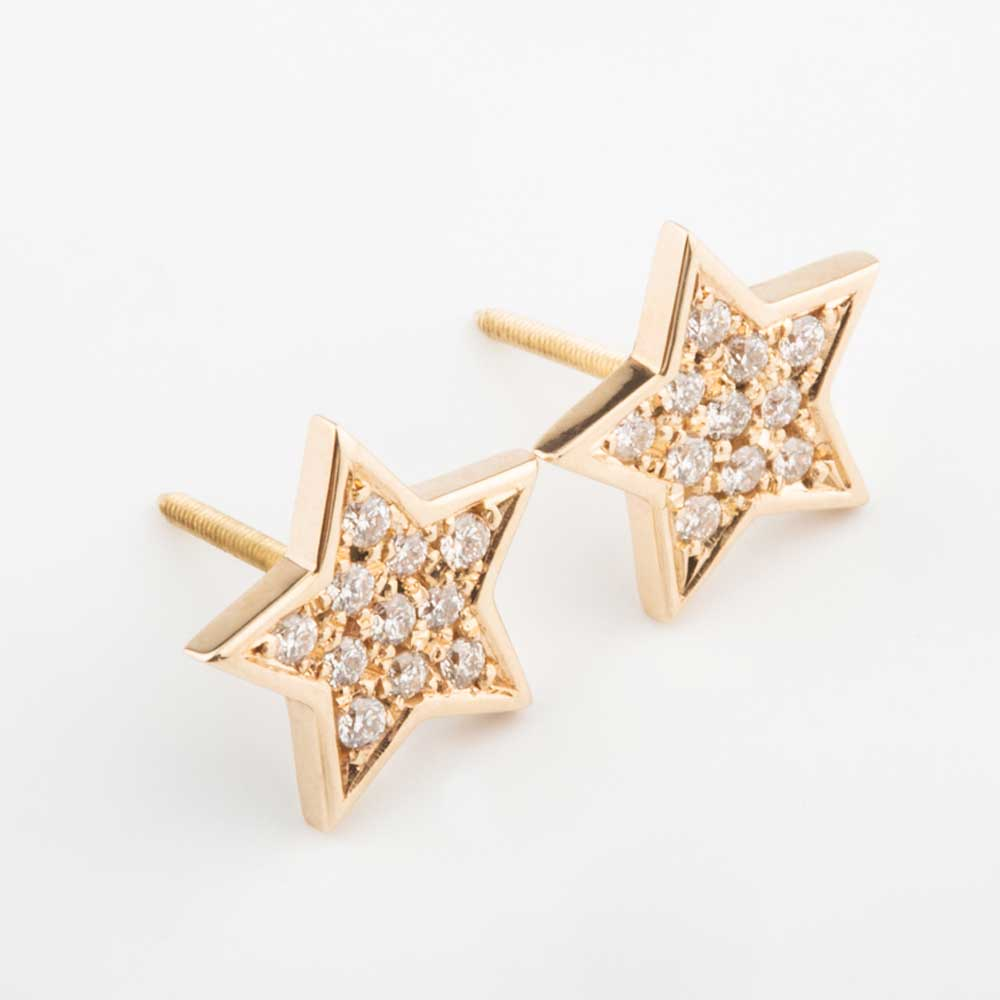 18k Yellow Gold White Diamond Star Earring