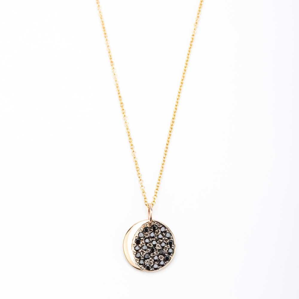 Pre yellow gold black diamond crescent necklace christine k jewelry pre yellow gold black diamond crescent necklace aloadofball Image collections