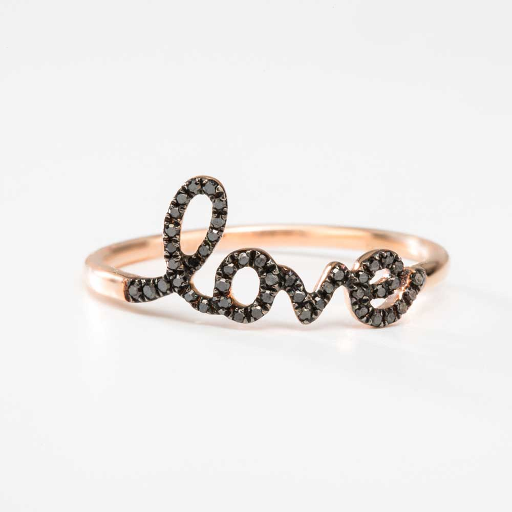 Black Diamond Love Ring With Rose Gold Christine K Jewelry