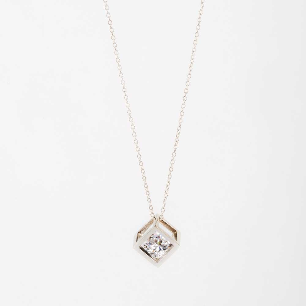 Rose Gold Diamond Cube Necklace