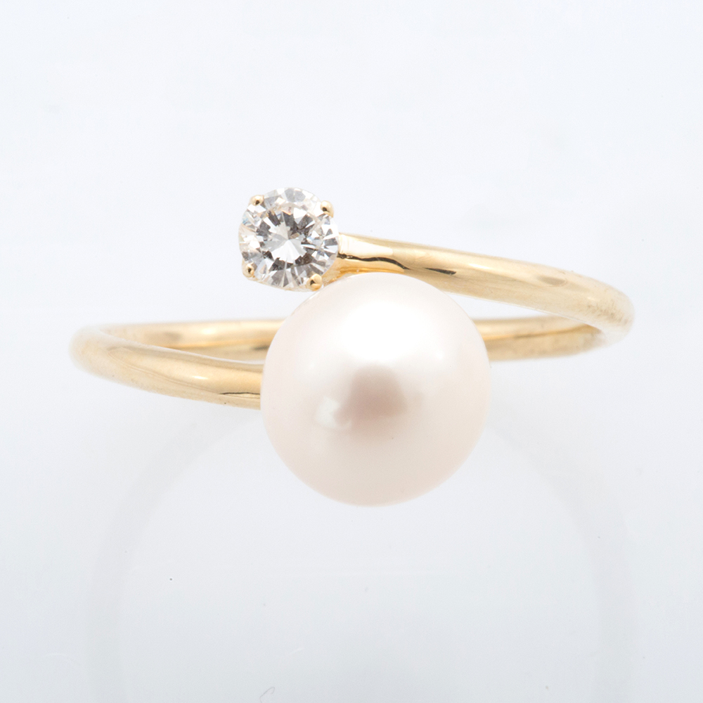 ring engagement seawater round yellow pearl products box girls jewelry fine wedding akoya real gold women in gift rings anniversary