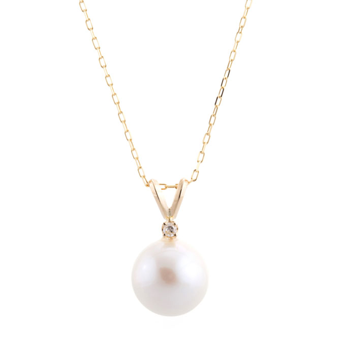 a533bf662d3bd PRE- Single Pearl Necklace with Diamond (2 colors)