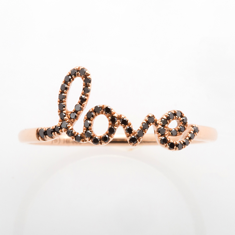 Black Diamond LOVE Ring with Rose Gold - Christine K Jewelry