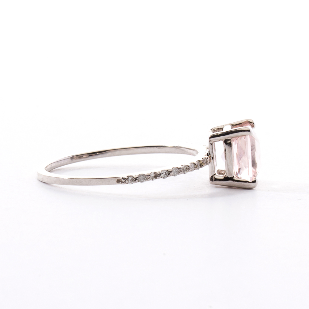 princess cut morganite pave ring christine k jewelry