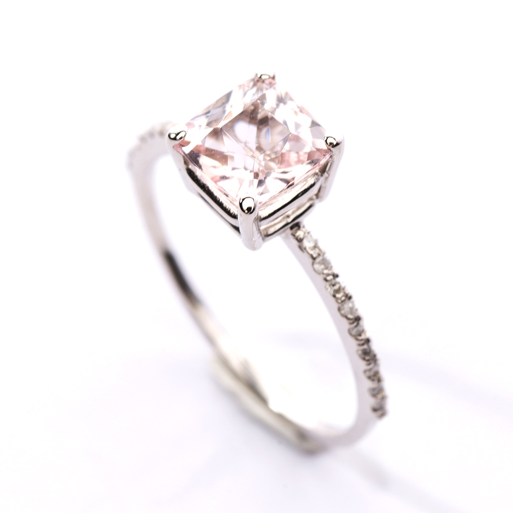 and ring village diamond pink goldsmith gold in morganite carat pale rose the white