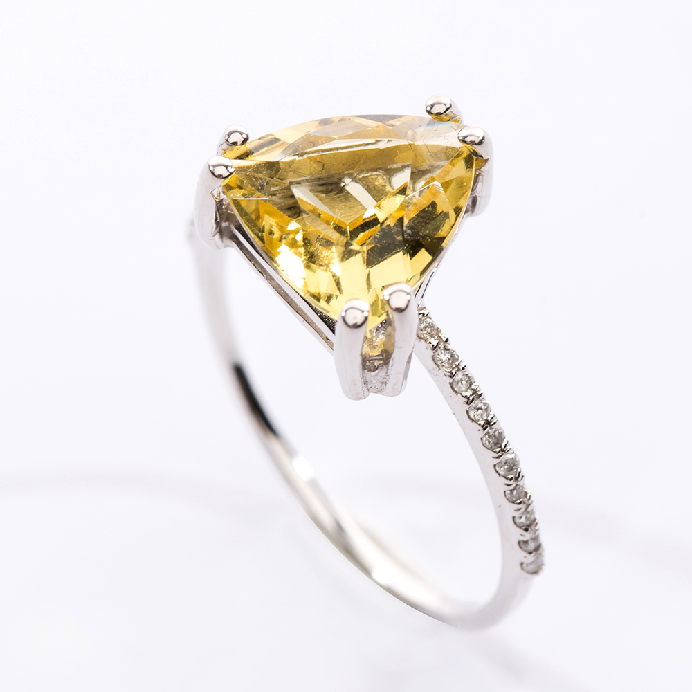 Trillion Cut Yellow Beryl Diamond Pave Ring Christine K