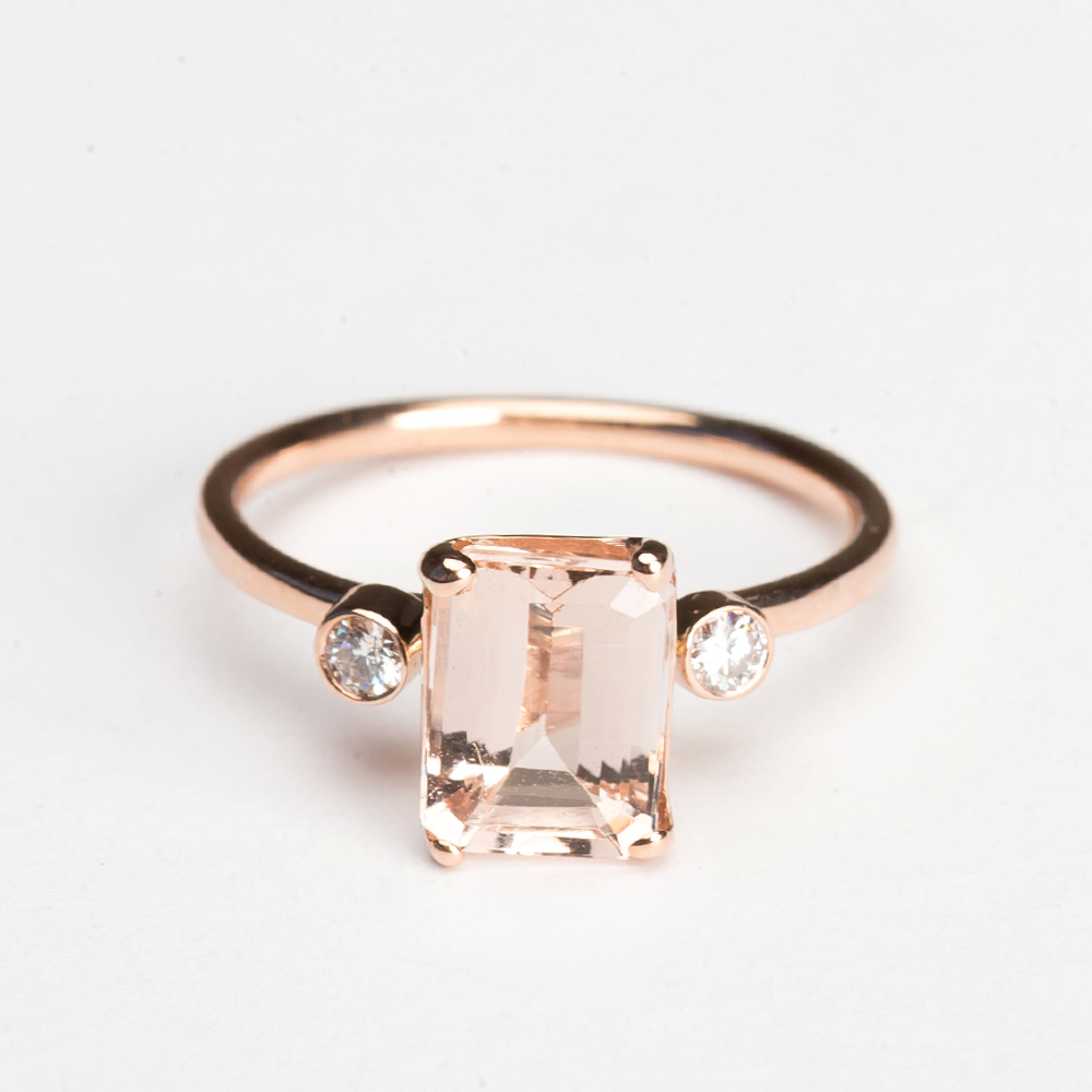 Emerald Cut Light Pink Morganite Ring with Diamond Band ...