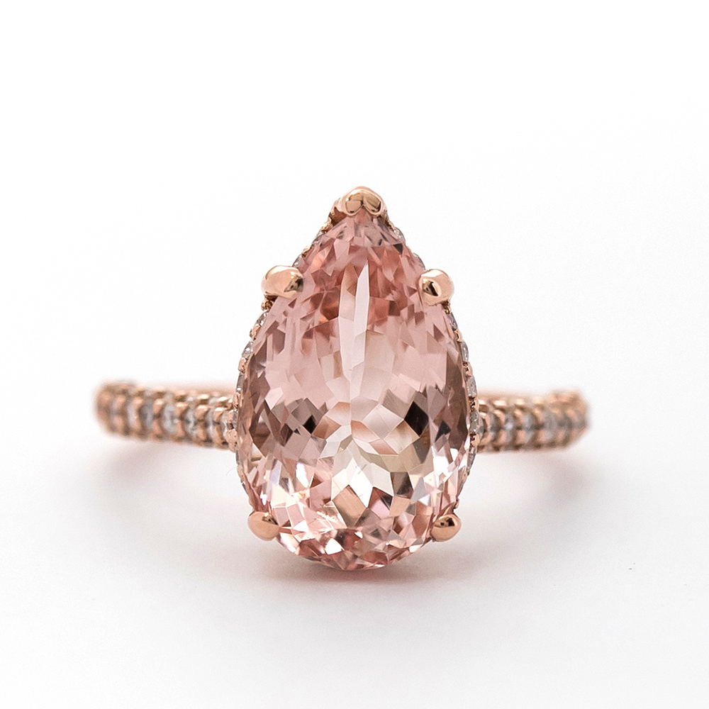 morganite  PRE-Pear Shape Pink Morganite Ring - Christine K Jewelry