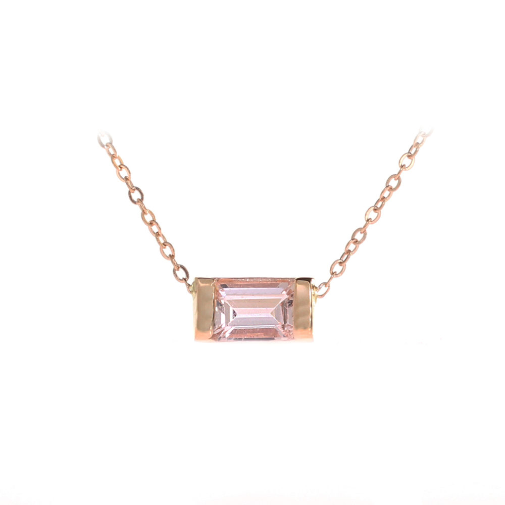 rose with gold diamonds necklace in tw morganite trillion